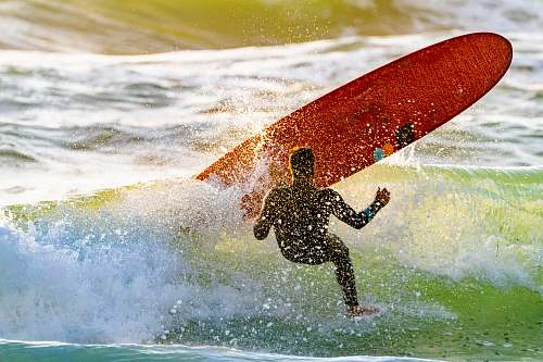 sea surfer bailing out on board sport