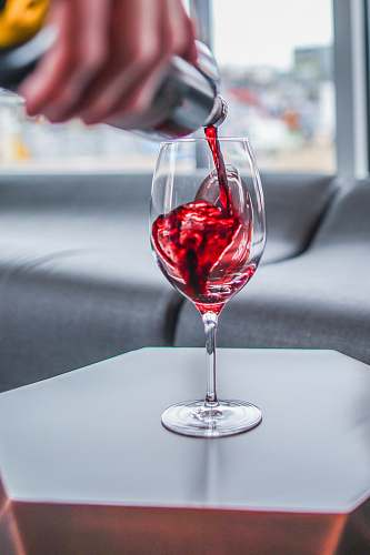glass red wine in clear wine glass denver