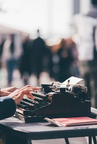 typewriter person using black typewriter ferry plaza farmers market