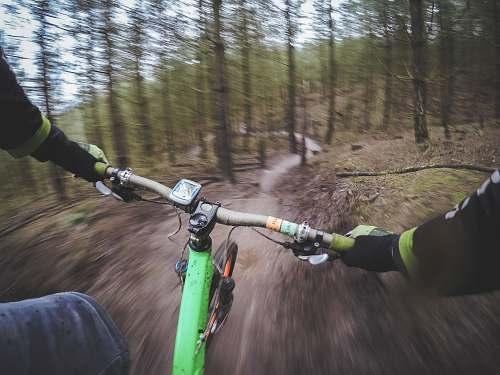 bicycle man riding green bicycle sport