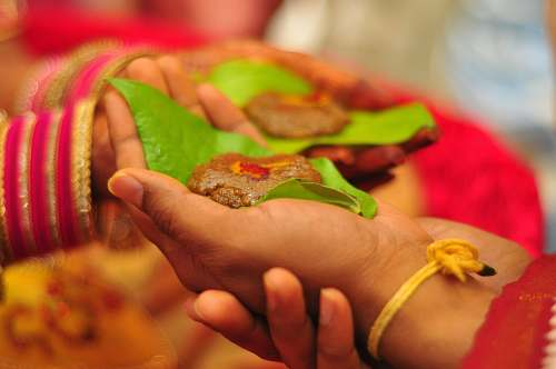 marriage brown food on palm india