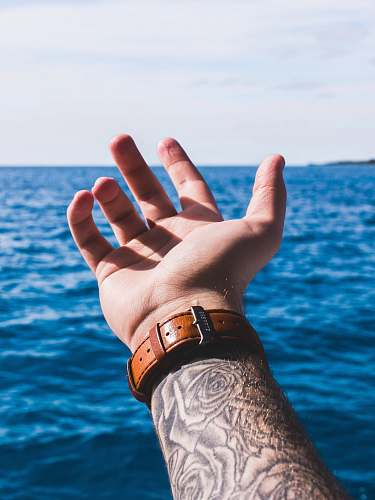 photo human person with arm sleeved tattoo wearing brown leather strap watch holding out hand above water person free for commercial use images