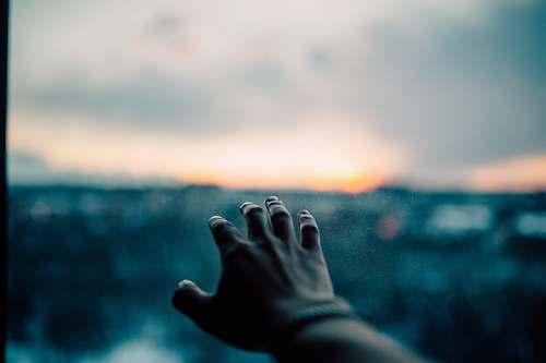 sunset human left hand bokeh