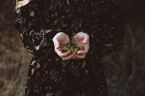floral person holding green leaves hold