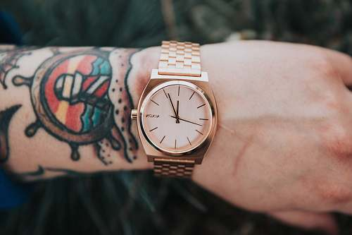 wrist person wearing round gold-colored analog watch display at 12:04 o'clock watch
