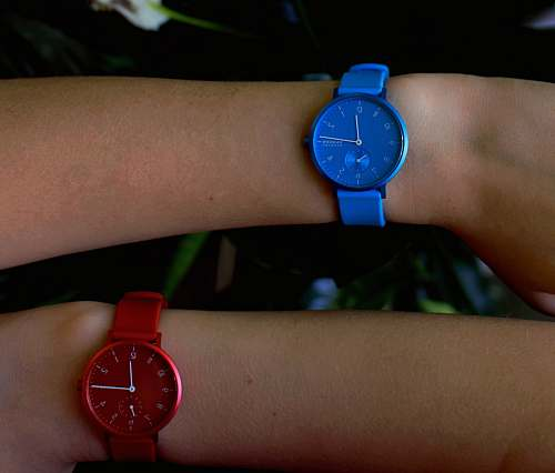 photo wrist two person wearing blue and red analog watches wristwatch free for commercial use images