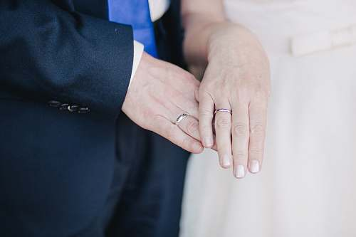 hand couple wearing their band rings wedding