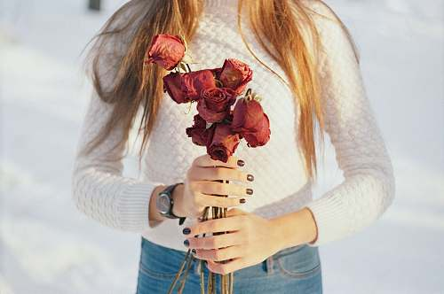 flower person holding bouquet of red roses rose