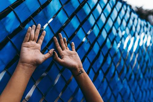 hand person raising their arms beside blue wall finger