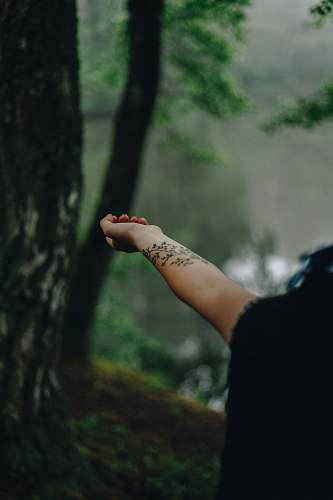 person person with tattoo on right wrist skin