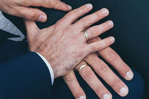 person two man's hands wearing gold-colored wedding rings people