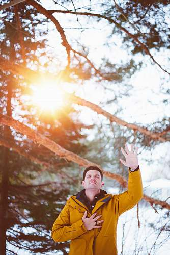 prayer man raising left hand, right hand on chest closed eyes standing outdoor under shade of tree during daytime person
