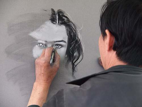 people man sketching portrait of woman human