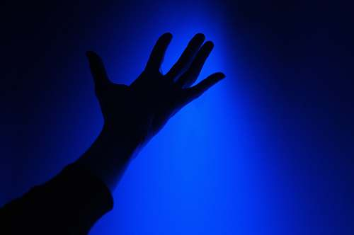 hand right hand silhouette blue