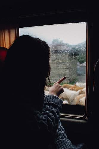 people woman in gray knitted sweater looking and pointing at the window girl