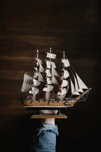 denim white and brown galleon ship forearm