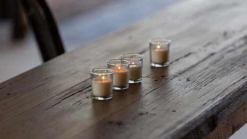 photo wood four votive candles hardwood free for commercial use images