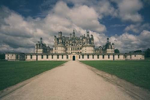castle photography of white mosque and green lawn château de chambord