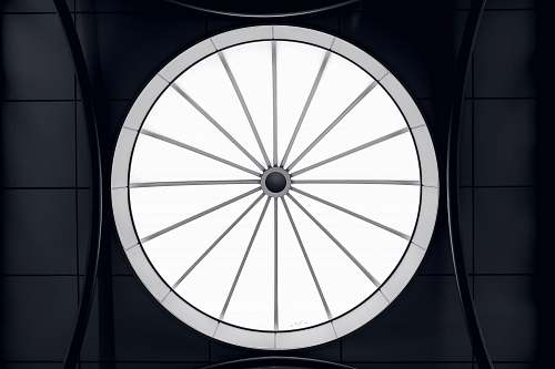 building round white and gray wheel illustration skylight