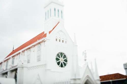 building white concrete mosque under white sky church