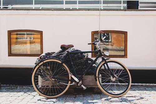 bike black bicycle under sunny sky transportation