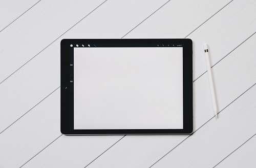 black black drawing tab on white table blank