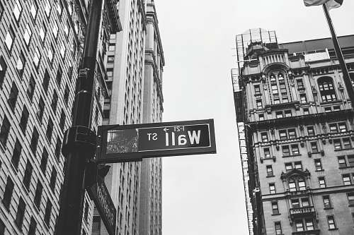 city grayscale photo of 1-21 Wall street signage wall street