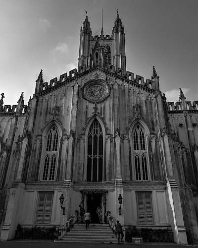architecture grayscale photo of a church building