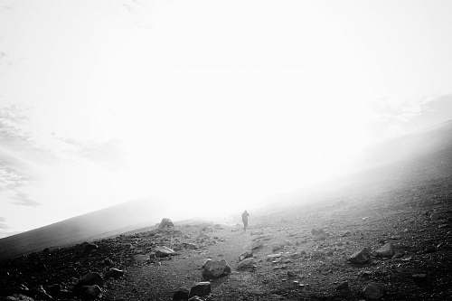 nature grayscale photo of a mountainside outdoors