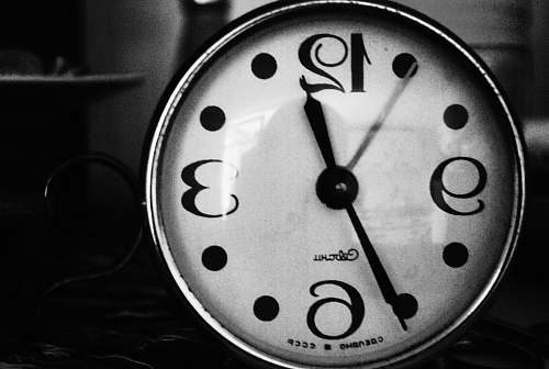 numbers grayscale photo of analog clock time