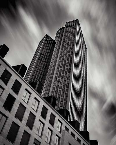 building grayscale photo of building office building