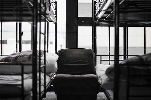 furniture grayscale photo of bunk bed and chair building