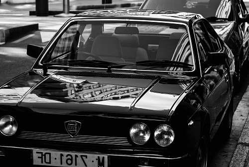 car grayscale photo of car pontevedra
