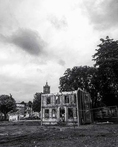 building grayscale photo of cathedral nature