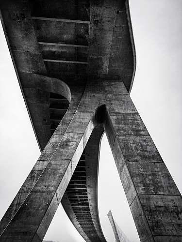 architecture grayscale photo of concrete bridge pont de terenez