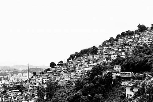 building grayscale photo of houses on hill urban