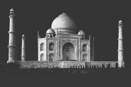 grey grayscale photo of mosque architecture