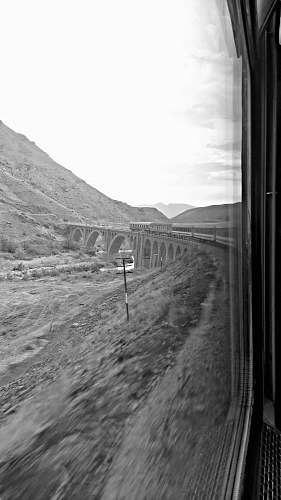 nature grayscale photo of train outdoors