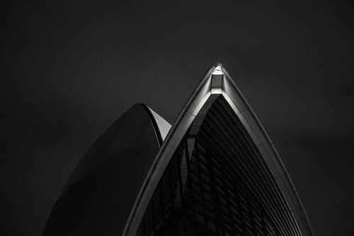 building grayscale photo of white building sydney