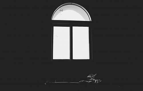 white grayscale photo of windows window