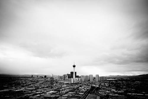 landscape grayscale photography of buildings nature