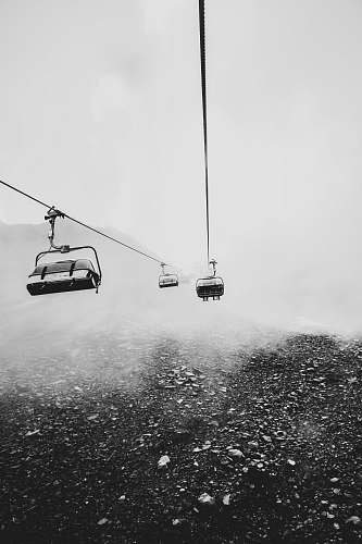 grey grayscale photography of cable cars cable car