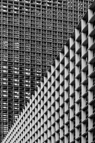 building grayscale photography of high-rise buildings office building