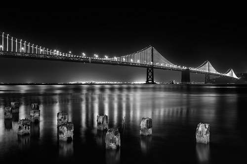 photo bridge grayscale photography of lightened full-suspension bridge san francisco free for commercial use images