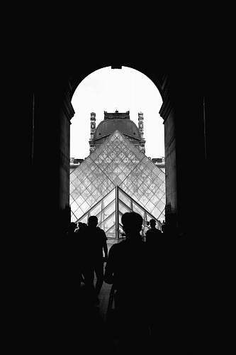 architecture grayscale photography of Louvre Museum, Paris arch