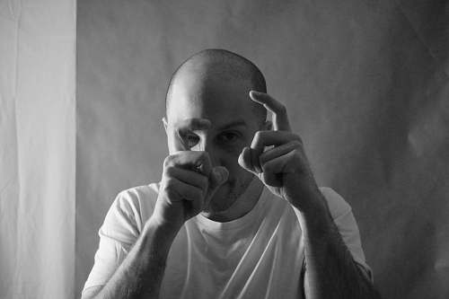 human grayscale photography of man person