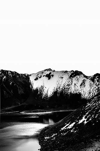 mountain grayscale photography of mountain nature