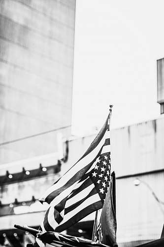 toronto grayscale photography of US flag canada