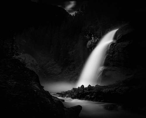 nature grayscale time lapse photography of flowing waterfall water