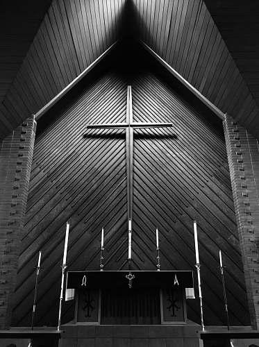 church greyscale photography of church altar building